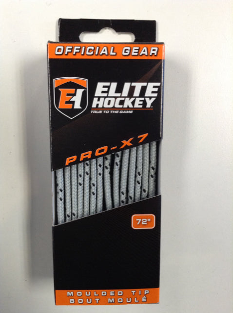"Elite Pro-X7 Silver Grey 72"" New Hockey Laces Non-Waxed"