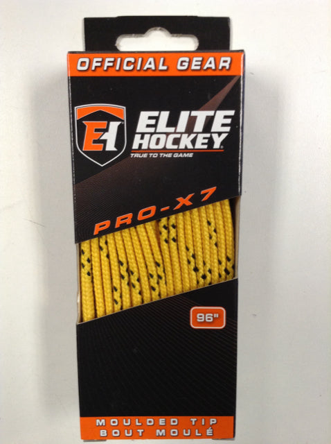 "Elite Pro-X7 Yellow 96"" New Hockey Laces Non-Waxed"