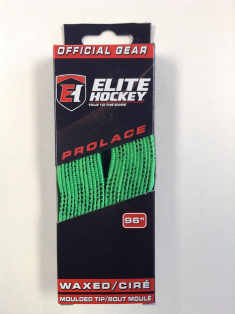 "Elite Prolace Lime Green 96"" New Hockey Laces Waxed"