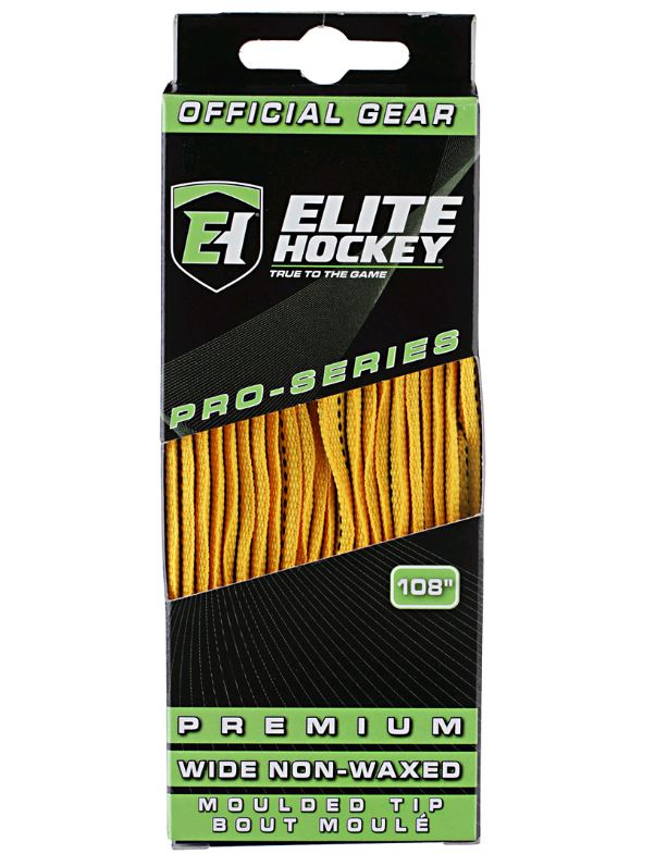 "Elite Prolace Yellow 96"" New Hockey Laces Waxed"