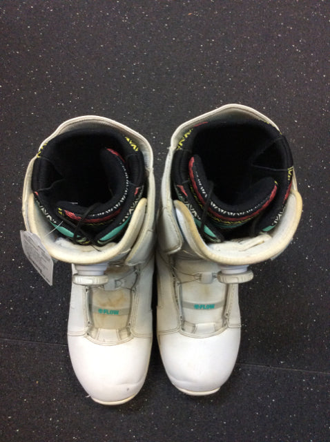 Flow Hyku Coiler Boa White Womens 10 Used Snowboard Boots