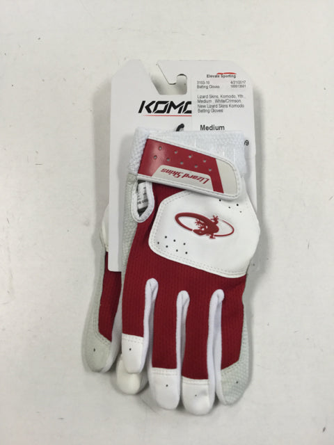Lizard Skins Komodo Yth. Medium White/Crimson New Batting Gloves