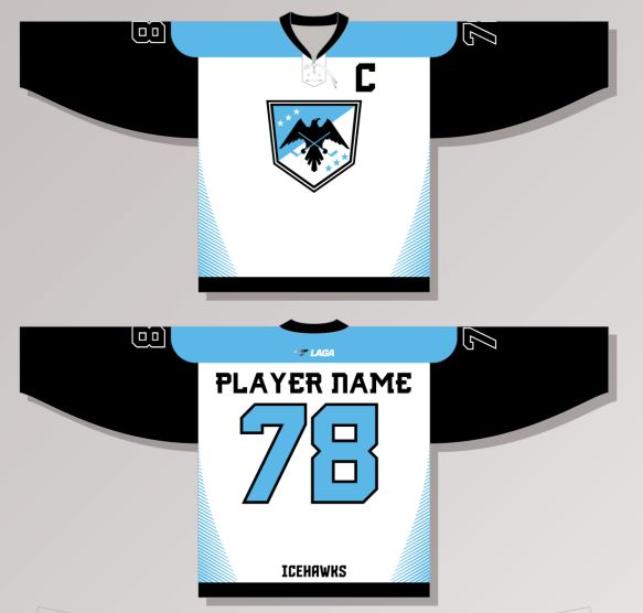 Ice Hawks GSHL White New Hockey Jersey