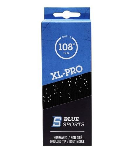 "Blue Sports XL-PRO Black/White New Lace Length 120"" Hockey Laces Non-Waxed"