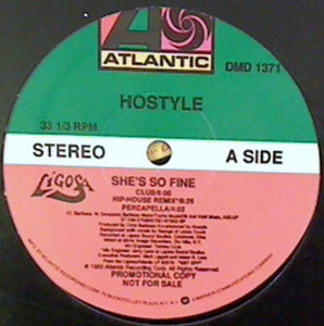 "Hostyle (2) - She's So Fine / Keep On Movin' (12"", Promo) (VG+) - natural selection vinyl records"