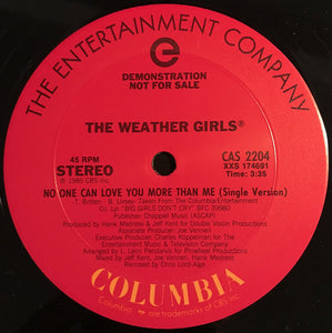 "The Weather Girls - No One Can Love You More Than Me (12"", Promo) (VG+) - natural selection vinyl records"
