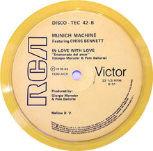 "Load image into Gallery viewer, Munich Machine ,Featuring Chris Bennett - A White Shade Of Pale / In Love With Love (12"", EP, Yel) (VG+) - natural selection vinyl records"