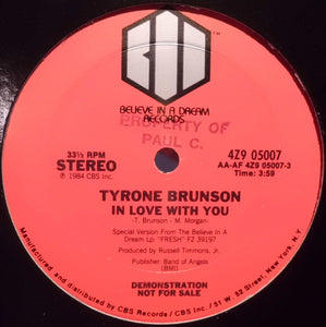 "Tyrone Brunson - I'm In Love With You (12"", Promo) (VG+) - natural selection vinyl records"