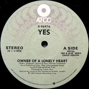 "Yes - Owner Of A Lonely Heart (12"", ARC) (VG+) - natural selection vinyl records"