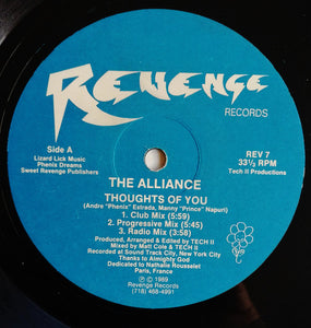 "Alliance (4) - Thoughts Of You (12"") (NM or M-) - natural selection vinyl records"