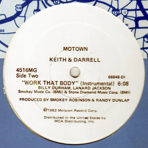 "Keith & Darrell - Work That Body (12"", Single, Promo) (VG) - natural selection vinyl records"