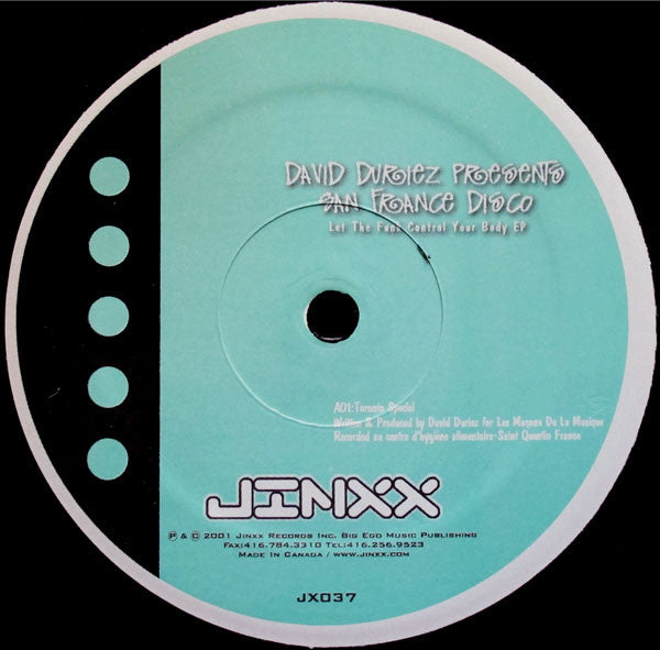 David Duriez Presents San France Disco - Let The Funk Control Your Body EP (12