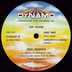 "Hot Blood - Disco Dracula (Terror On The Dancefloor / Soul Dracula) (12"", Single) (VG) - natural selection vinyl records"