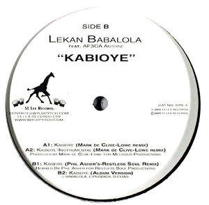 "Lekan Babalola Feat. Af3ca Antoine - Kabioye (12"") (VG+) - natural selection vinyl records"