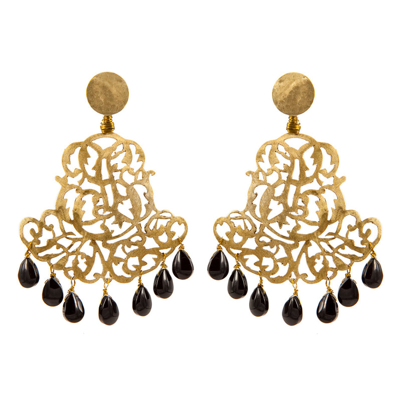 EARRINGS ROYAL ONIX GOLD BRONZE