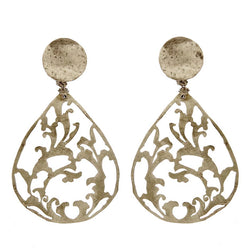 EARRINGS WINE DROPS WHITE BRONZE