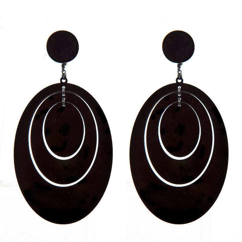 EARRINGS 3 OVALI BLACK