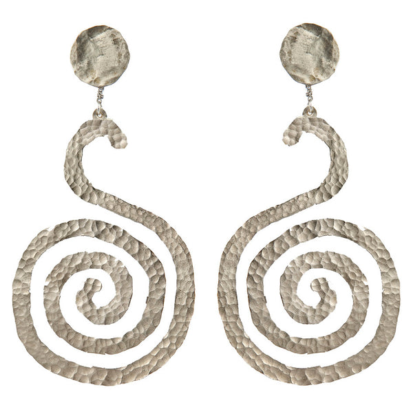 EARRINGS SPIRALS WHITE BRONZE