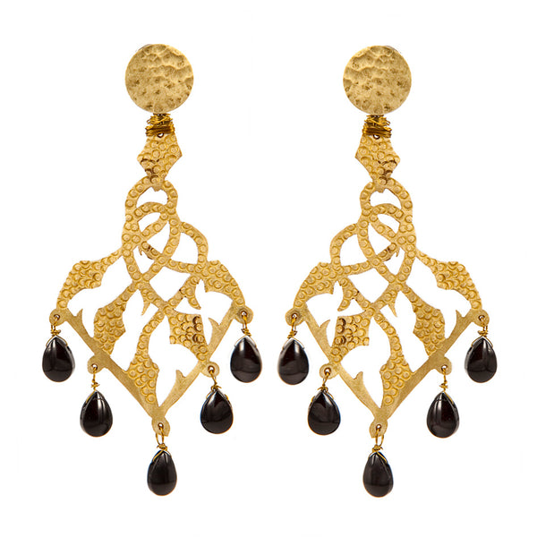 EARRINGS IVIES ONIX GOLD BRONZE