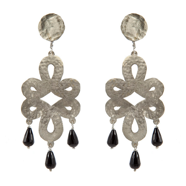 EARRINGS LONGEVITY WHITE BRONZE ONIX