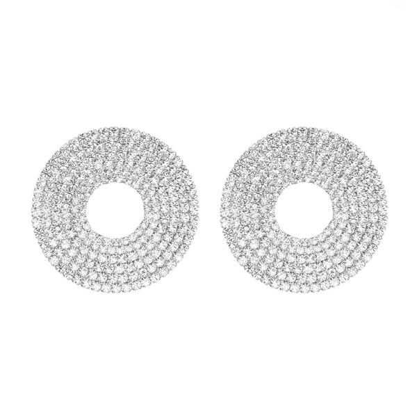 EARRINGS CRYSTAL DONUTS SILVER