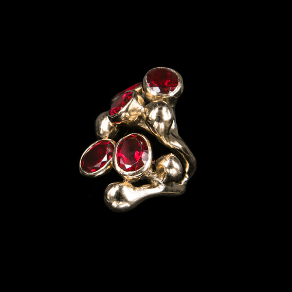 RING 5 GRANATE STONES TRICKLE ROSE BRONZE