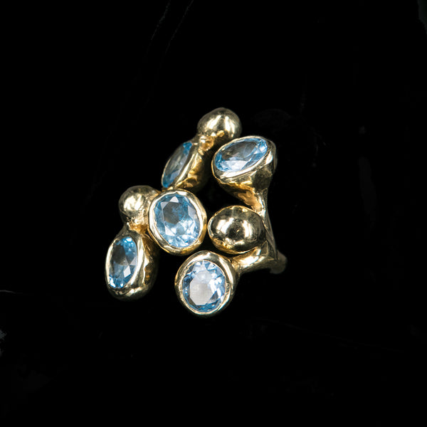 RING 5 AQUA MARINE STONES TRICKLE GOLD BRONZE
