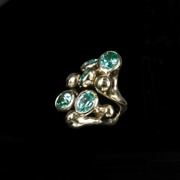 RING 5 BLUE TOPAZ STONES TRICKLE GOLD BRONZE