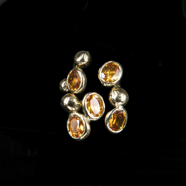 RING 5 TOPAZ STONES TRICKLE GOLD BRONZE
