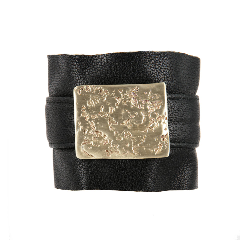 BRACELET  LEATHER & SQUARE MOON GOLD BRONZE