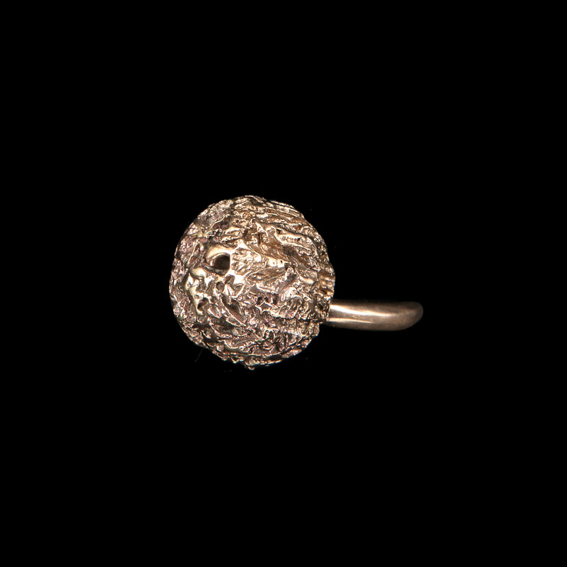 RING SMALL BALL & ZIRCONS WHITE BRONZE