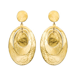 EARRINGS 3 OVALS GOLD BRONZE