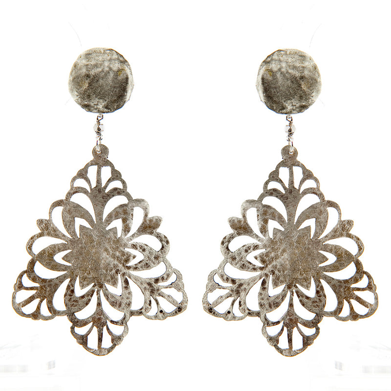 EARRINGS SNOWFLAKES WHITE BRONZE