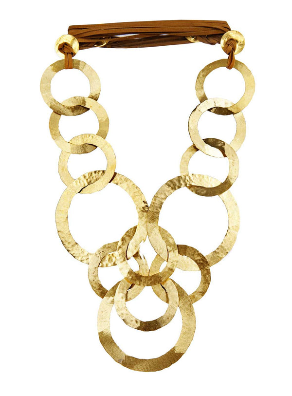 NECKLACE 13 CIRCLES GOLD BRONZE