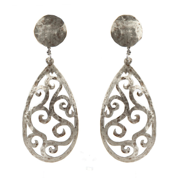 EARRINGS DROPS WITH CURLS WHITE BRONZE