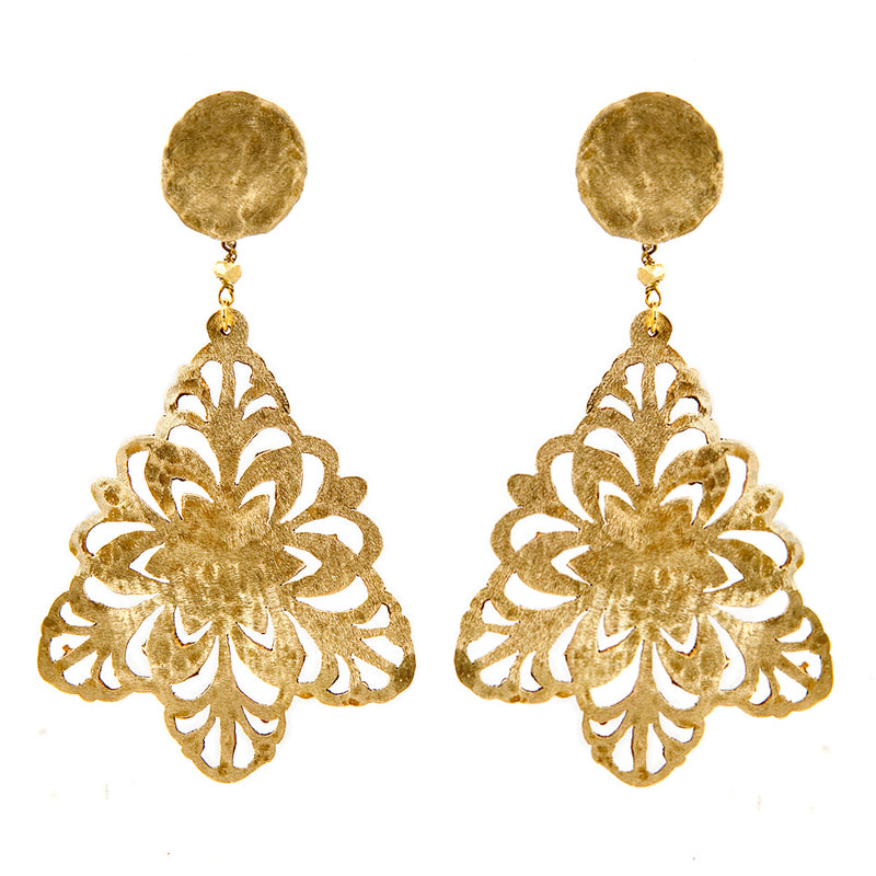 EARRINGS SNOWFLAKES GOLD BRONZE