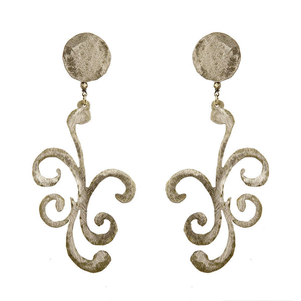 EARRINGS CURLS WHITE BRONZE