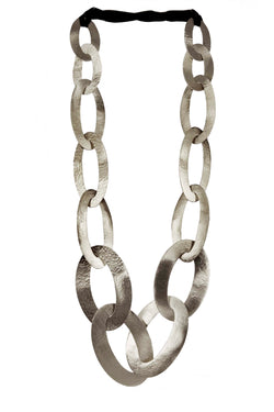 NECKLACE 20 OVALS WHITE BRONZE