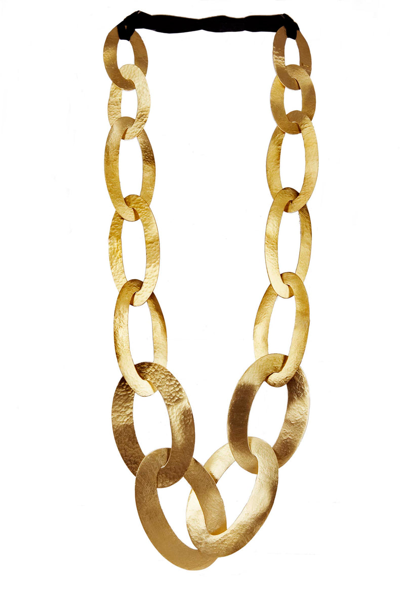NECKLACE 20 OVALS GOLD BRONZE