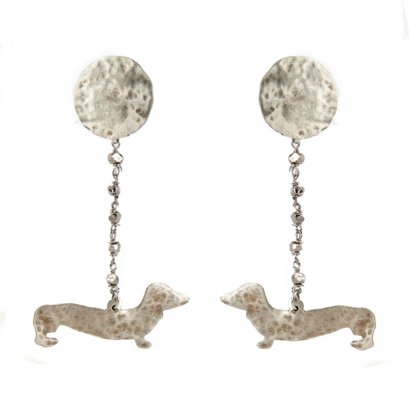 EARRINGS SAUSAGE DOGS WHITE BRONZE
