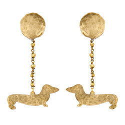 EARRINGS SAUSAGE DOGS GOLD BRONZE