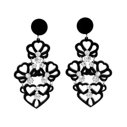 EARRINGS 4 CUORI MINI BLACK