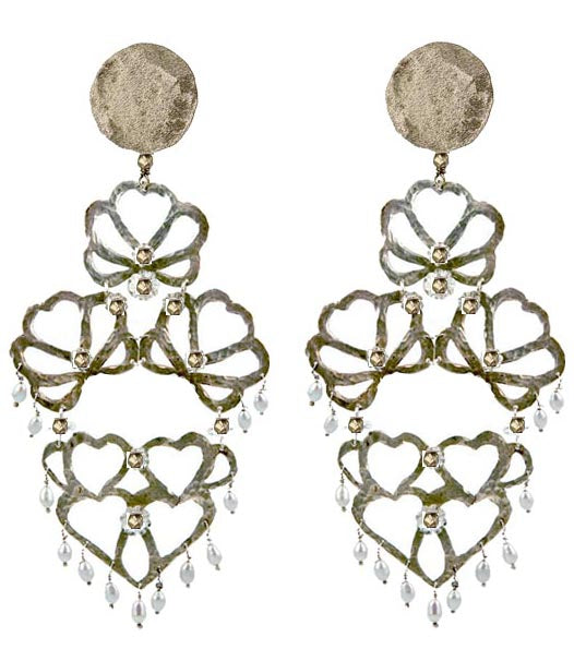 EARRINGS 4 HEARTS MAXI WHITE BRONZE