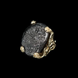 RING ANEMONE LAVA ONIX WHITE BRONZE