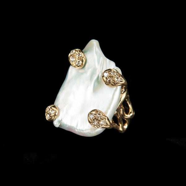 RING ANEMONE PEARL GOLD BRONZE