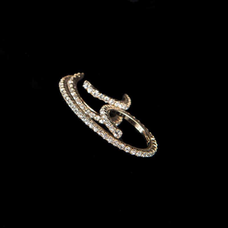 TWO FINGERS RING CONSTELLATION CRYSTAL GOLD BRONZE