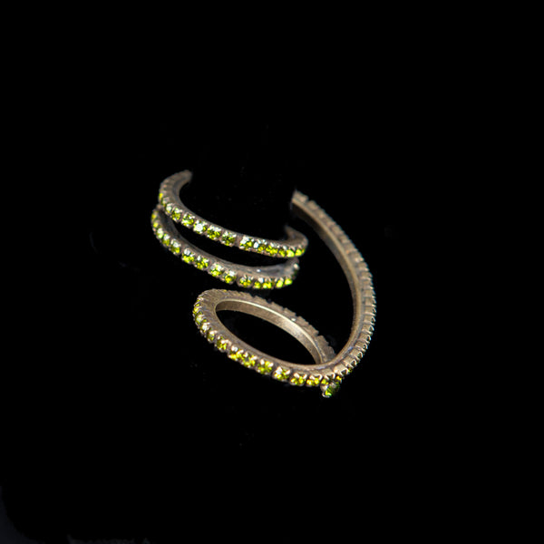 TWO FINGERS RING  CONSTELLATION PERIDOT ANTIQUE GOLD BRONZE