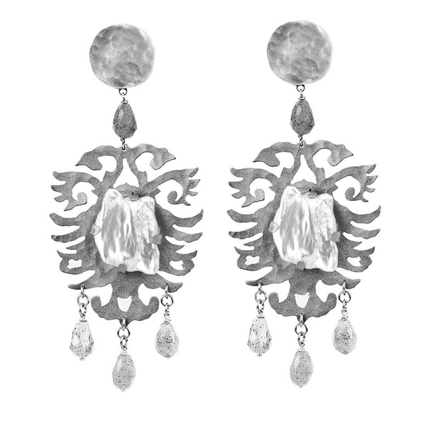 EARRINGS CRESTS WHITE PEARLS WHITE BRONZE
