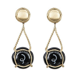 EARRINGS  CAPSULE BILLECART-SALMON NOIR GOLD BRONZE