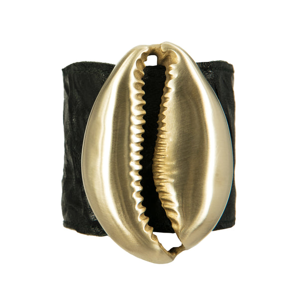 BRACELET MAXI NAUTILUS BLACK LEATHER & GOLD BRONZE